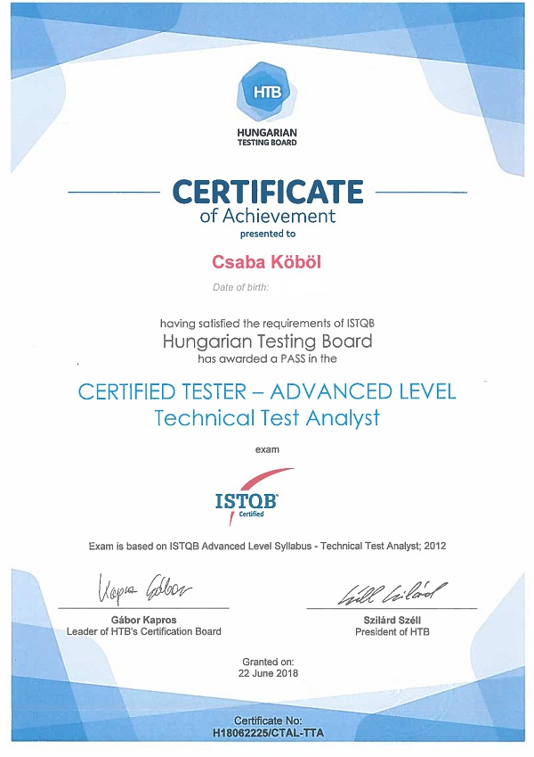 Csaba Kobol - Advanced level certificate